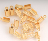 20 x Gold Plated Large Folding Cord Ends (Crimp Ends) 5mm x 7mm